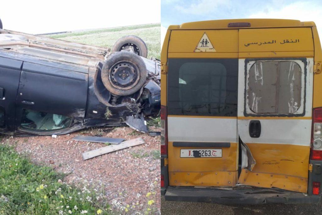 خطير.. سيارة للنقل المدرسي بإقليم قلعة السراغنة بدون تأمين تتعرض لحادثة سير